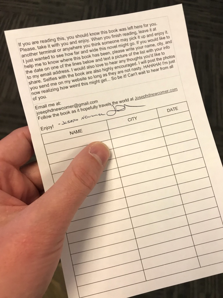 The form to fill out when you pick up the traveling book of Diminishing return